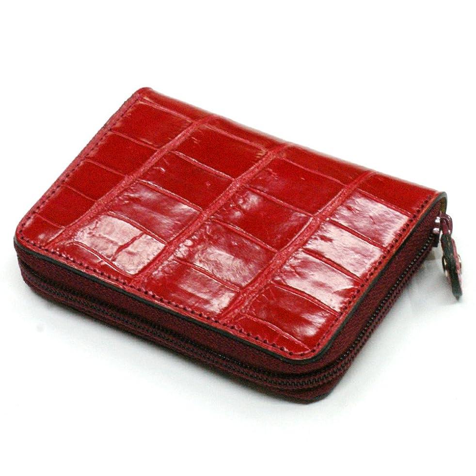 政府長老推測CRG1144-RED 本革 コインケース 小銭入れ クロコダイル革 ワニ革 クロコ 革 メンズ レディース 小さい レザー 財布 サイフ カード カードケース ギフト プレゼント グレージング レッド