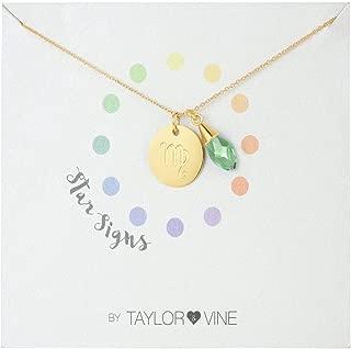 Star Signs Virgo Necklace Pendant with CZ Gem Birth Stone, 16