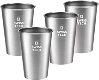 Swiss+Tech 16 oz Stainless Steel Cups, 4 Pack Stackable Pint Cup For Travel, Outdoor and Home