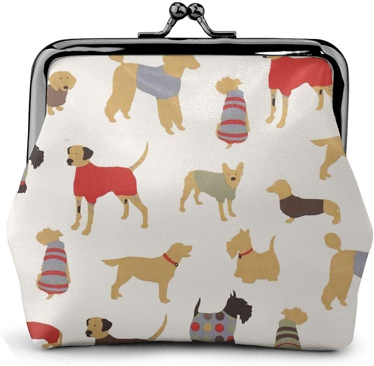 Cheap sale Stingar 4 years warranty Doggy Days Print Leather Coin Pou Lock Purse Kiss Change