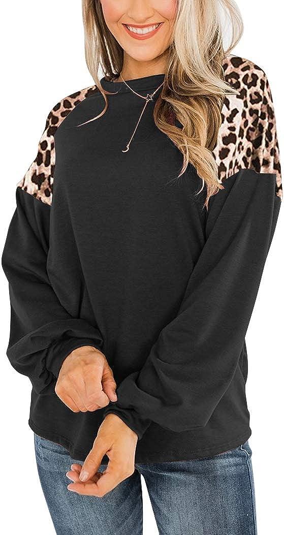 Uincloset Women's Sales results No. 1 year warranty 1 Leopard Print Patchwork Long Cre Sleeve Raglan