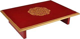 Lalhaveli Wood Pooja Chowki (16 x 12 x 4 inch, Red)