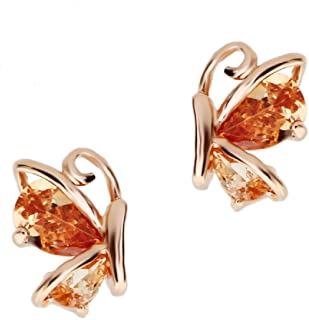 Crystalline Azuria Jewelry - Orecchini a perno a forma di farfalla, con cristalli di zirconia rosa, viola, bianco, multico...