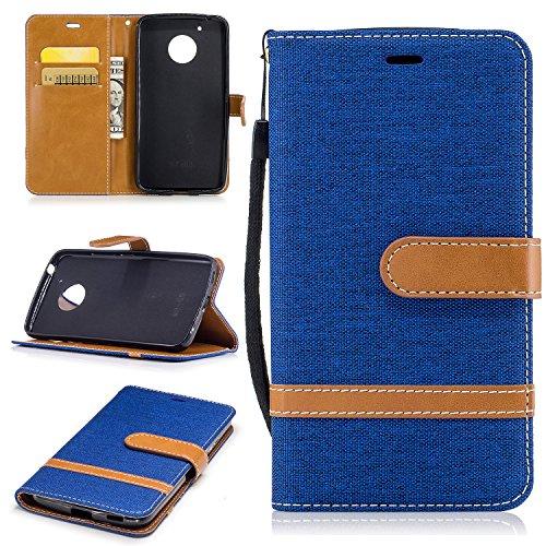 Hülle für Moto G5 Hülle Handyhülle [Standfunktion] [Kartenfach] [Magnetverschluss] Schutzhülle lederhülle flip case für Motorola Moto G5 - DEBF030982 Saphir