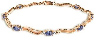 2.01 Carat 14K Solid Rose Gold Tennis Bracelet Diamond Tanzanite