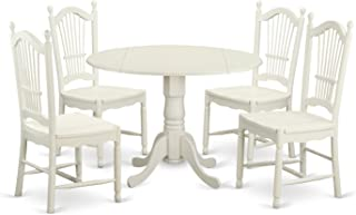 East West Furniture 5 Piece Dinette Table and 4 Dining Room Chairs Set for 4 People