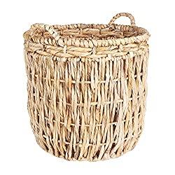 Household Essentials ML-6649 Tall Round Floor Storage Basket with Handles, Light Brown