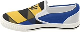 InterestPrint Classic The Flag of Barbados Womens Slip-on Canvas Shoes