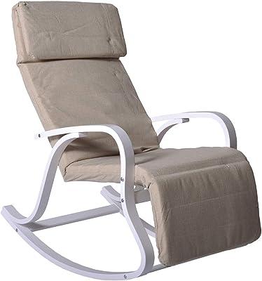 PEGANE Rocking-Chair Multipositions Michael en Lin Ficelle, L66 x H101 x P91 cm