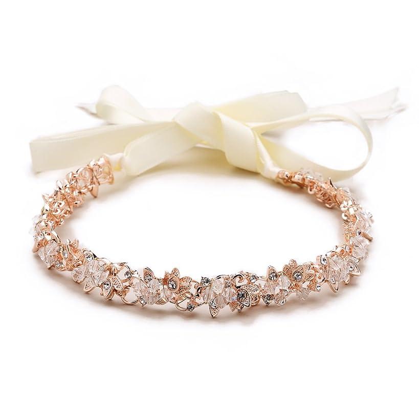 Mariell Rose Gold Crystal Cluster Bridal Wedding Headband Hair Vine - Ivory Ribbons