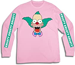 The Simpsons Mens Krusty The Clown Shirt Krusty Long Sleeve Logo Tee Graphic T-Shirt