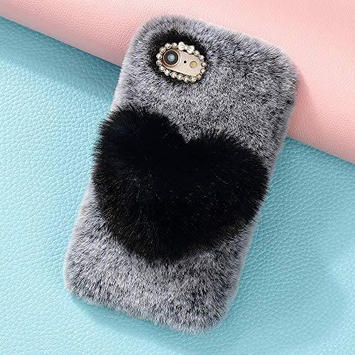 King phone Felpa Amor Corazon Funda para Wiko Y70 Felpa Adorable Linda Carcasa Ultra Fina Estuche Silicona TPU Suave a Prueba de Choques Peluda Funda Protectora - Negro