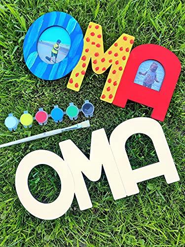 LIDAM Oma Geschenk Enkel   einfach & schön   Holznamen bemalen & Fotos ankleben   Geschenk Oma, Geburtstagsgeschenk-Oma mit Farben & Pinsel & Zubehör