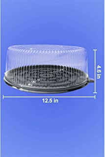 """10"""" Cake Container - 12.5"""" Black Base - 4.60"""" Tall - 50/Case"""