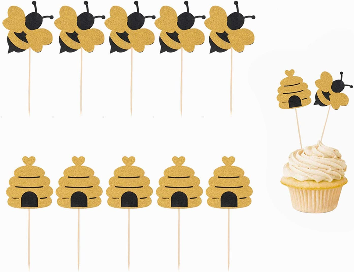 Amazon Com Hasken 50 Pack Bee Cupcake Toppers Glitter Bumble Bee Cupcake Toppers For Bumble Bee Gender Reveal Baby Shower Birthday Party Decor Grocery Gourmet Food