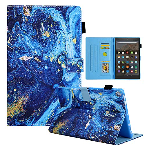 TiKeDa Case for All-New Fire HD 10 Tablet (Compatible with 7th 5th and 9th Generations, 2015/2017 and 2019 Releases) - Premium PU Leather Stand Cover with Auto Wake/Sleep (Blue Map)