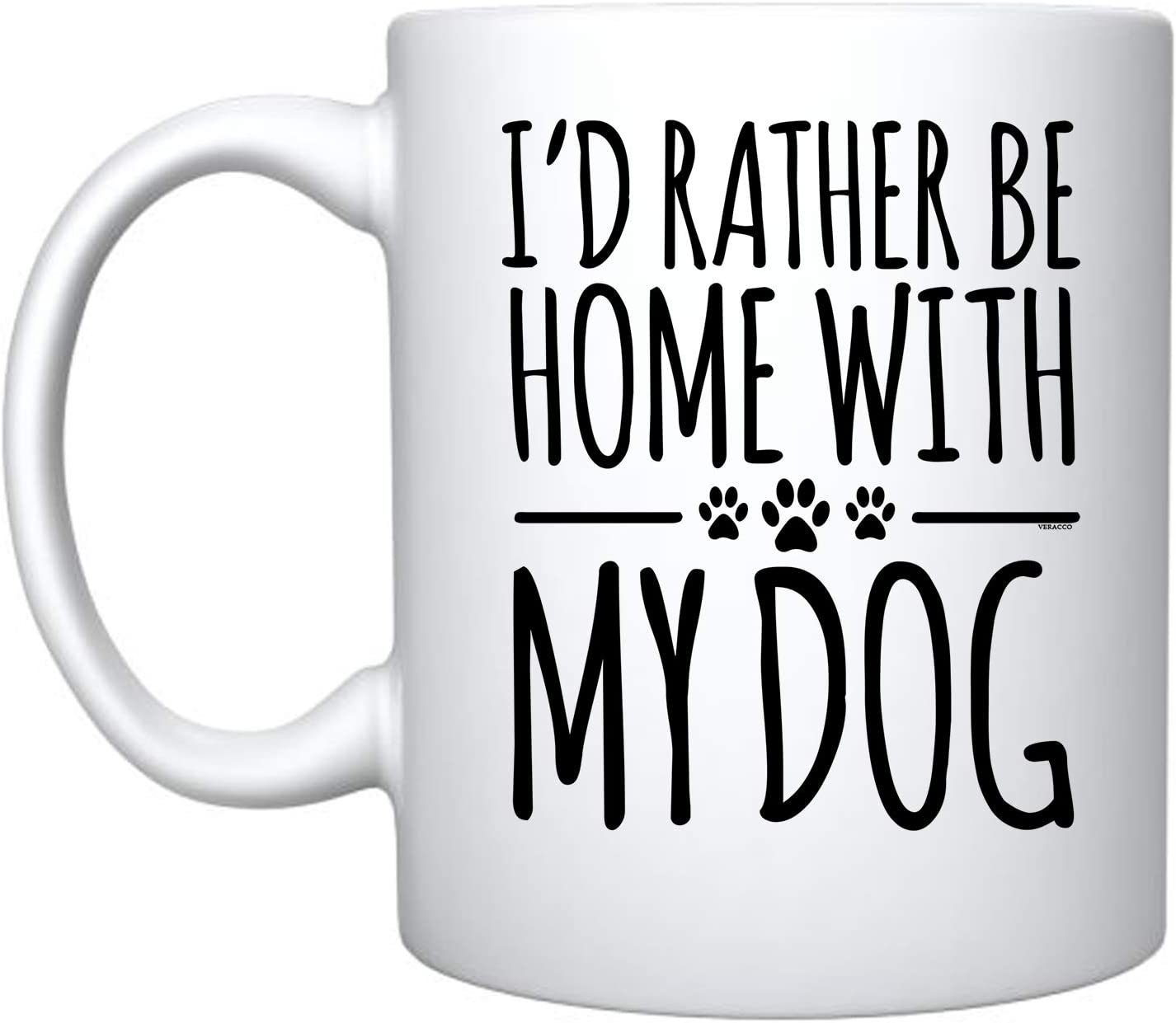 Veracco I'd Rather Be Home With My Dog Ceramic Coffee Mug For Her Him (White, Ceramic)