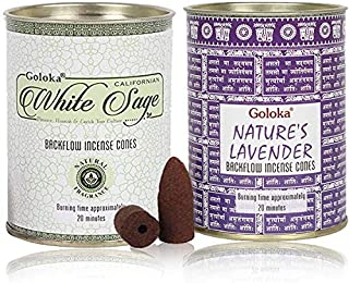 Backflow Incense Cones by GOLOKA - Pack of 2 Includes 48 Cones (White Sage & Natures Lavender)