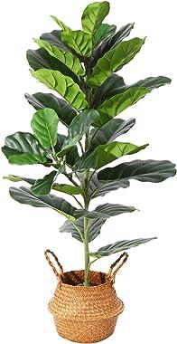 Ferrgoal Plantes Artificielles Fiddle Leaf Figuier Hauteur 100cm Tropical Palmier Fausse Ficus Lyrata Plante Artificiel pour