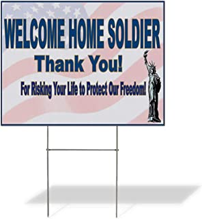 Plastic Weatherproof Yard Sign Welcome Home Soldier White Blue3 American Flag and Statue of Liberty Welcome Home Black for Sale Sign Multiple Quantities Available 18inx12in One Side Print One Sign