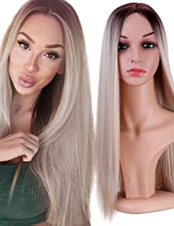Fani Wigs Long Straight Blond Ombre Wigs for Women Dark Roots Middle Part Synthetic Full Wig Cosplay Wigs with Free Wig Cap (Ash Blonde)