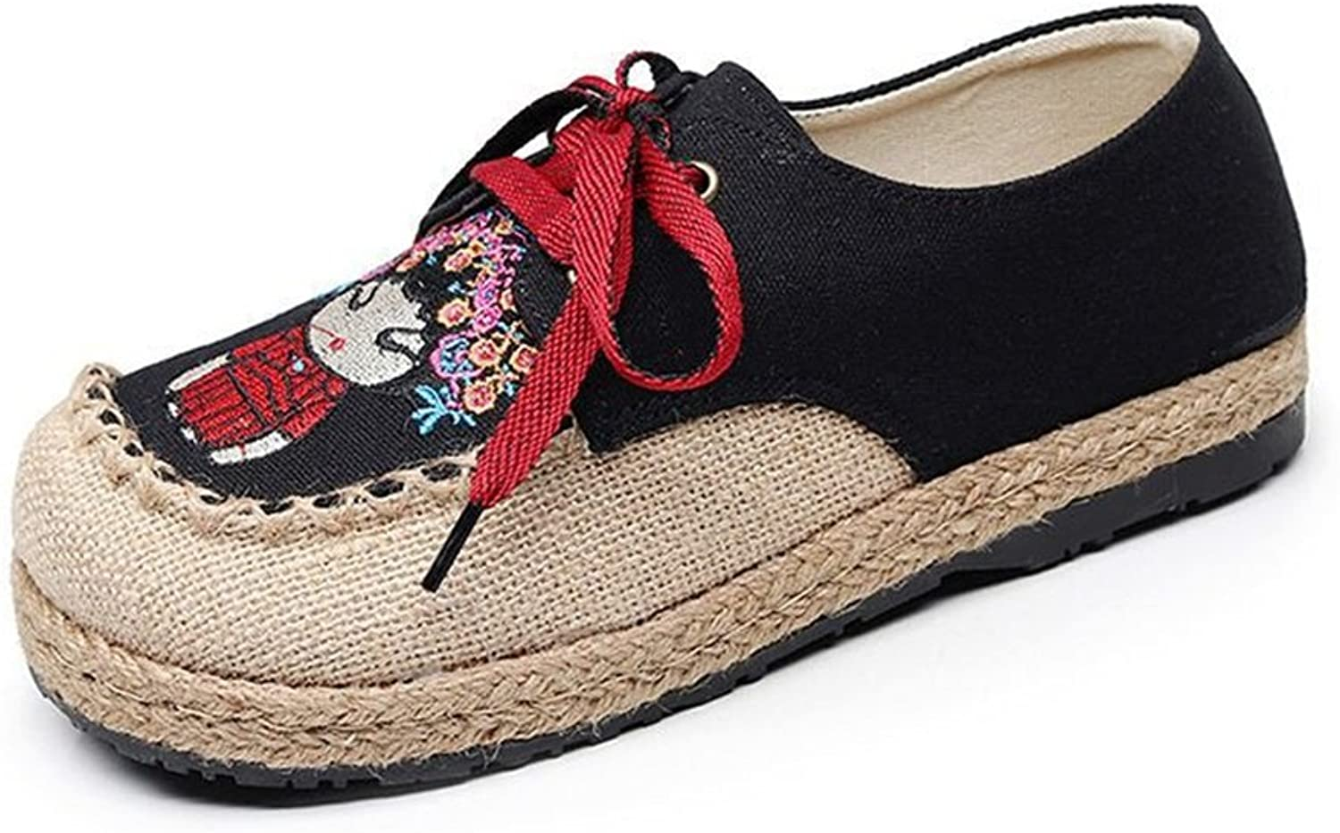 Womens's shoes Spring Summer New Linen Rounded Toe shoes Handmade Embroidery National Wind Espadrilles Hand-Woven Linen Lace-up Canvas Low-Top shoes