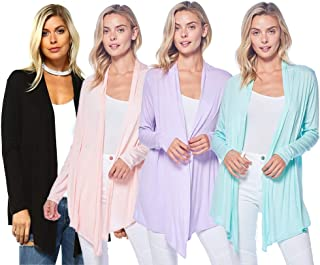 Isaac Liev 4-Pack Women's Open Front Lightweight Casual Flyaway Cardigan - Made in The USA