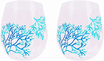 Set of 2 Nautical Coral Stemless Acrylic Wine Glasses - Clear