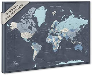 World Map on Canvas with Pins | Personalized World Map Pin Board | Modern Navy Push Pin Map Design | Various Sizes Available