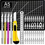 Exacto Knife Upgrade Precision Carving Craft Knife Hobby Knife Exacto Knife Kit 50 Spare Exacto Knife Blade for Art, Hobby, Scrapbooking,Stencil