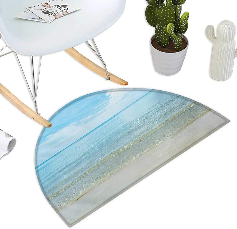 Ocean Semicircle Doormat Sunny Summer Day at The Sandy Beach Tranquil Calm Shore Sea Horizon Image Artprint Halfmoon doormats H 39.3  xD 59  bluee Cream