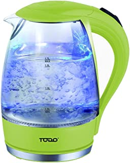 TODO 1.7L Glass Cordless Kettle with Blue LED Indicator Light (Green)
