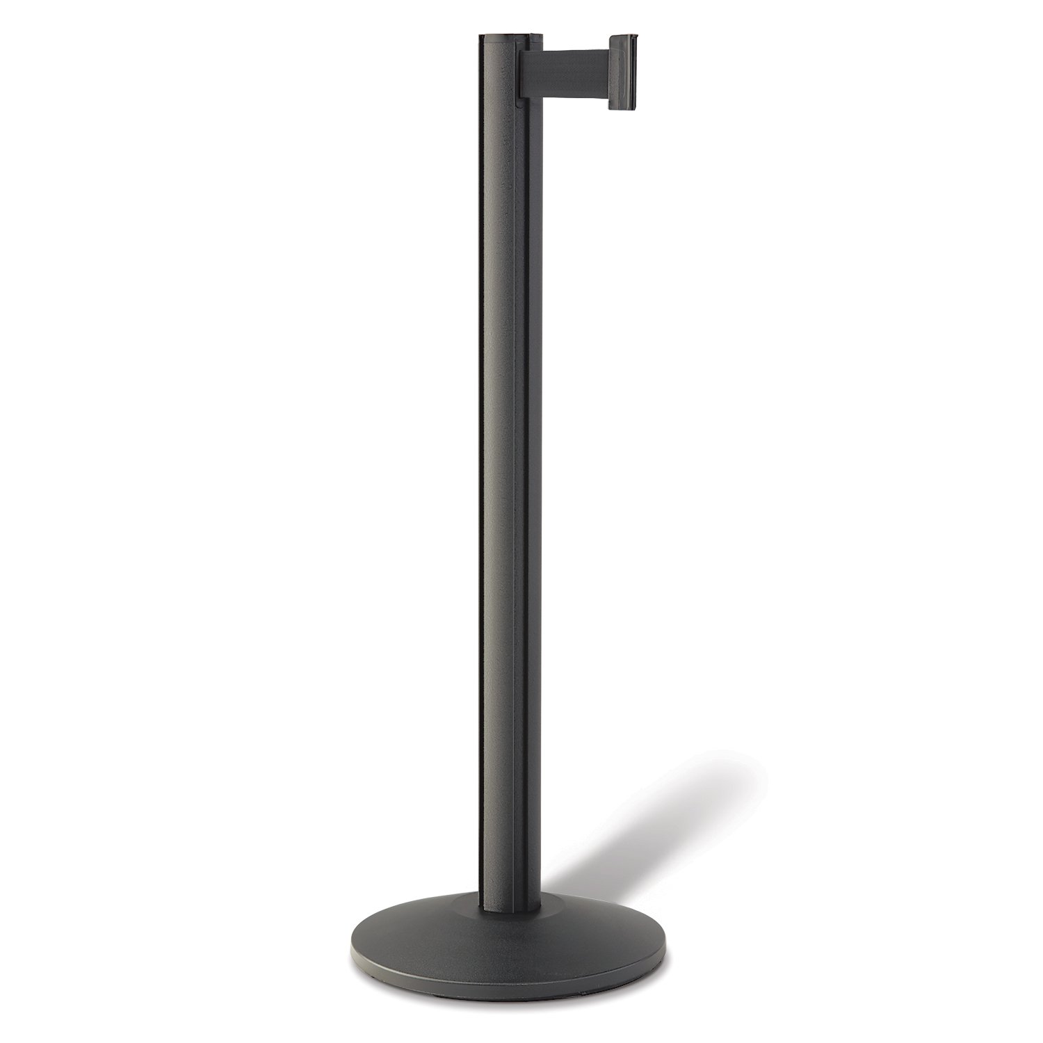 Beltrac Retractable Belt Stanchion For Queue Lines Wrinkle Black Post With 7