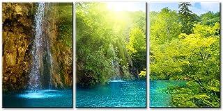 3 parties Impression de photo sur toile Cascade à l'aube lac bleu arbres verts et rayons du soleil à travers la forêt Tech...