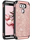 BENTOBEN Case for LG V20, Glitter Bling Luxury Slim Fit 2 in 1 Hybrid Hard Cover Laminated with Sparkly Shiny Faux Leather Chrome Shockproof Protective Phone Case for LG V20(2016 Release), Rose Gold