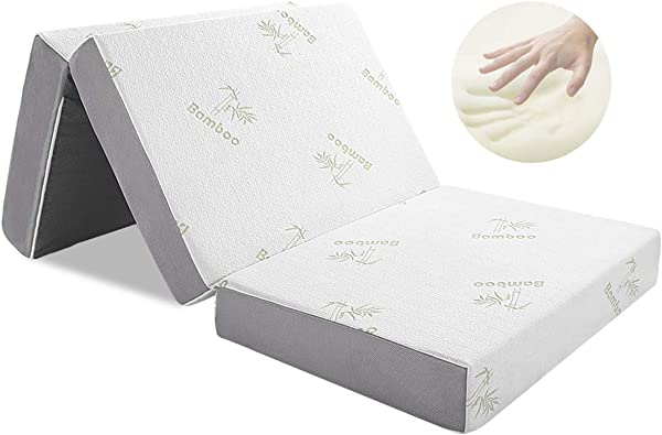 Folding Mattress Inofia Memory Foam Tri Fold Mattress With Ultra Soft Removable Bamboo Cover Washable Non Slip Bottom Breathable Mesh Sides Full 4 Inch