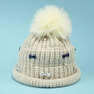 WHPSTZ Sweet Bow Ostrich Hair Ball Wool Hat Female Winter Thick Knit Hat Warm Basin Cap Women's Wool Cap (Color : Beige)