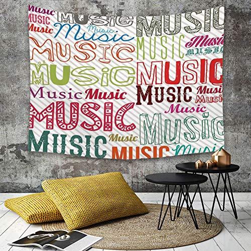 Tapisserie Murale Hippie Décoration Tenture Couverture Pique,Moderne, Musique Typographie dans Divers Styles Rhythm Acoustic Harmony Illustration,Nappe Serviette de Plage Yoga Indienne Tapestry