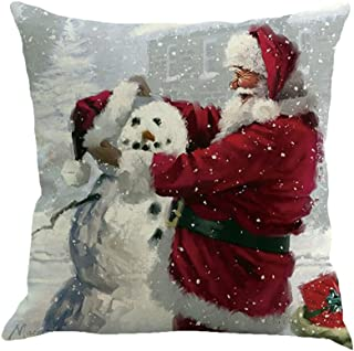 iLH Christmas Pillow Cases,ZYooh Tree Car Printed Linen Throw Pillow Cases Sofa Cushion Cover Home Party Decoration 18