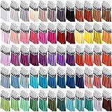 Duufin 300 Piezas Borlas de Ante Colgantes de Borlas de Cuero para Accesorios de Bricolaje, 60 Colores