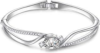 "Menton Ezil ""Mermaid Swarovski Crystal Silver Plated Women Bracelet, Mermaid Bangle, for Mom"