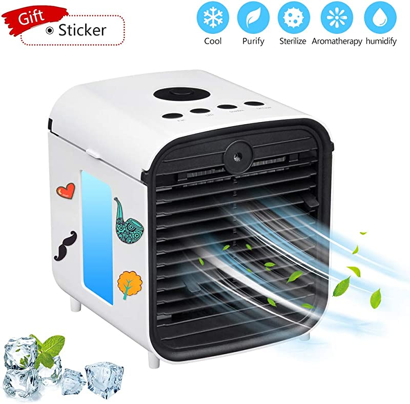 Sunbond Portable Air Conditioner USB Air Cooler Desktop Mini Cooling Fan Personal Desktop Fan Five In One 3 Speeds Quiet For Personal Spaces Such As Offices Indoors