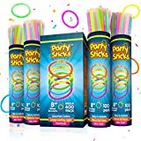 PartySticks Glow Sticks Party Supplies 400pk - 8 Inch Glow in The Dark Light Up Sticks Party Favors, Glow Party Decorations, Neon Party Glow Necklaces and Glow Bracelets with Connectors