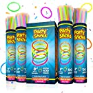 PartySticks Glow Sticks Party Supplies 400pk - 8 Inch Bulk Glow Light Up Sticks Party Favors, Glow in the Dark Party Decorations, Neon Party Glow Necklaces and Glow Bracelets with Connectors