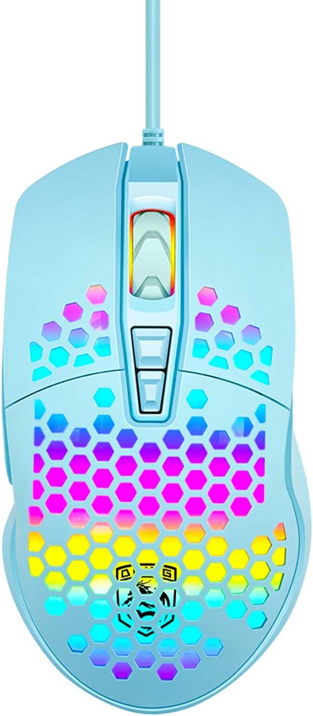 Lightweight Gaming Mouse Wired Honeycomb Hollow RGB Streamer 6400 DPI Programming Optical Sensor Pixert 78G for PC X-Box PS4 Gamer (Blue)