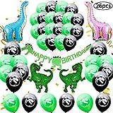 BESTZY 26 Piezas Decoración de Fiesta de Dinosaurio,Dinosaurio Cumpleaños Set de decoración Fiesta para niños,Globos de Colores para Niños Chicas Selva Jurásico Cumpleaños Fiesta