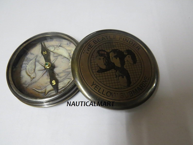 NAUTICALMART The Beatle Finder Brass Antique Finish 3  Compass