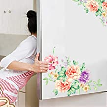 WOCACHI Wall Stickers Decals Colorful Flowers 3D Wall Stickers Beautiful Peony Fridge Stickers Toilet Decorat Art Mural Wallpaper Peel & Stick Removable Room Decoration Nursery Decor
