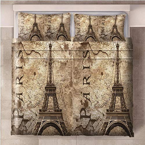NHBTGH Duvet Cover Tower Of Paris Printed Polyester Bedding Set Single Size with Zipper Closure + 2 Pillowcases Easy Care Anti-Allergic Soft & Smooth