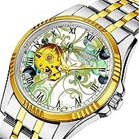 男性の人格ダイヤル&クリアウィンドウのためのカジュアルメンズ自動機械式時計高級ブランドカジュアルスポーツウォッチ抽象渦巻き & シックな真珠と114かわいいトンボ